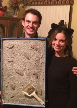 Cat and Litter Box Couple Costume