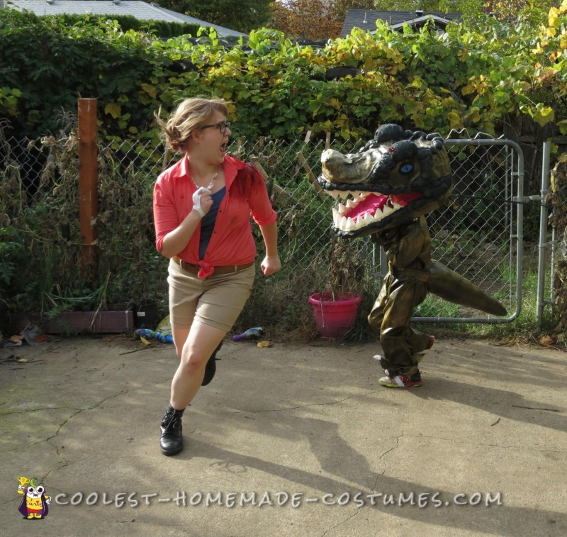 Ellie running from the T-Rex