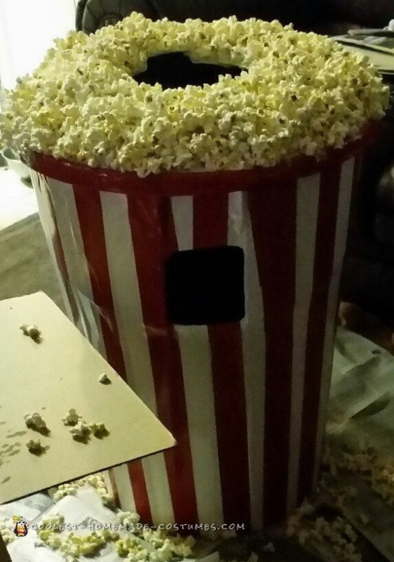 Adding the popcorn