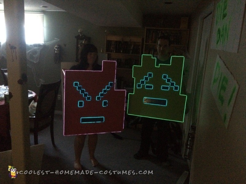 El Wire Mooninites Couple Costume from Aqua Teen Hunger Force