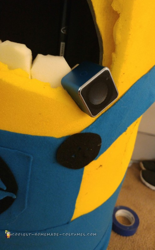 "the mini bluetooth speakers i used to transmit ""minion sayings"" goes inside."