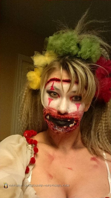 Female Twisty the Clown Costume and Makeup from American Horror Story