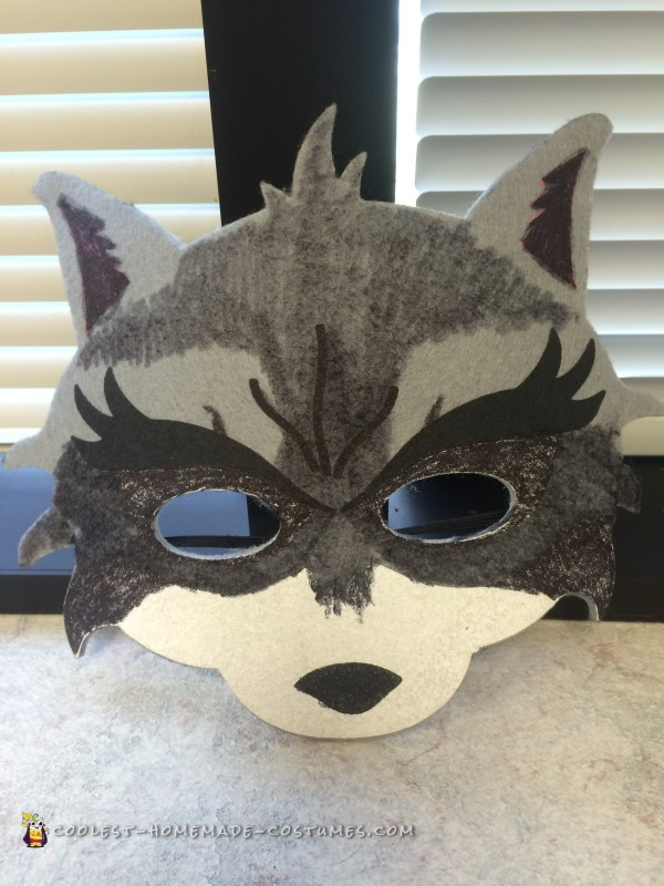 Mask after I colored it to look more like a racoon.