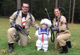 Ghostbusters and the Stay Puft Marshmallow Man Family Costumes