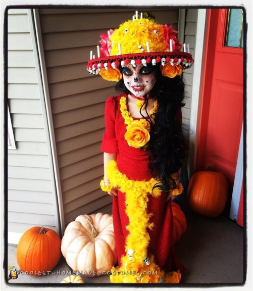 Pretty Dia De Los Muertos Costume for a Girl