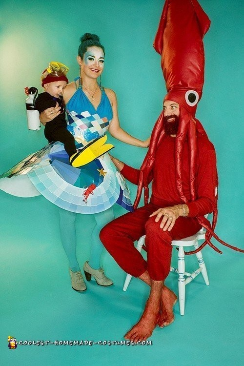 Life Aquatic Family with The Ocean, Giant Squid and Jacques Cousteau Baby Scuba Diver