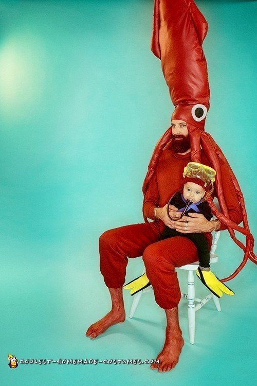 Life Aquatic Under the Sea Family with Giant Squid and Jacques Cousteau Baby Scuba Diver