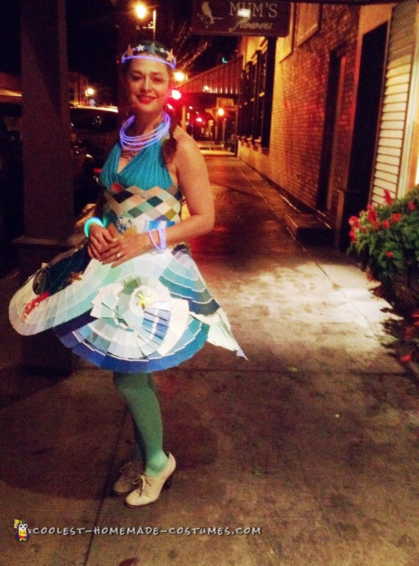 Life Aquatic Themed Ocean Dress Made from Hardware Store Paint Swatches