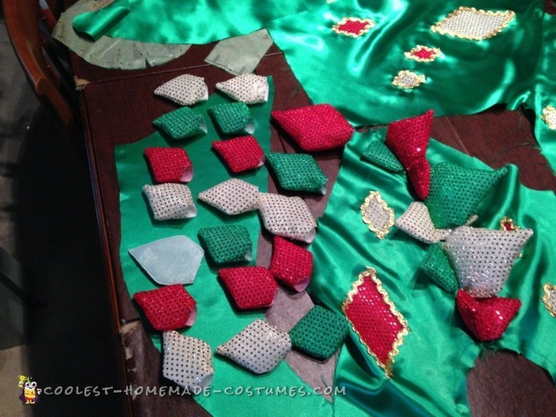 The tail piece with the constructed plates laid out to match the pattern of the real Piff's costume.