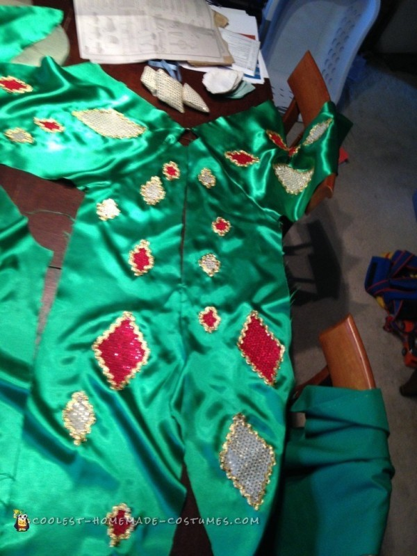 The front of the body and sleeves, with appliques applied.