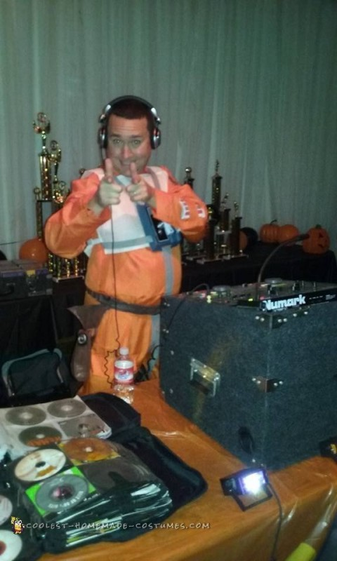 Entertaining the crowd until my partner arrives to DJ.