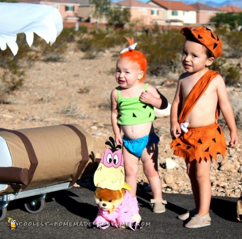 Real Life Pebbles and Bamm Bamm with Working Flintstones Car