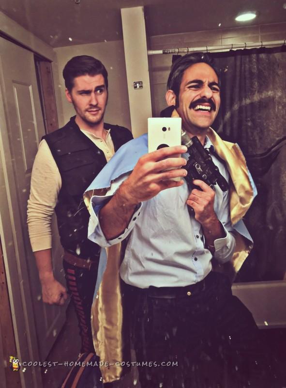 Han and Lando gettin ready to hit the Cantina...With a selfie, in a bathroom far far away