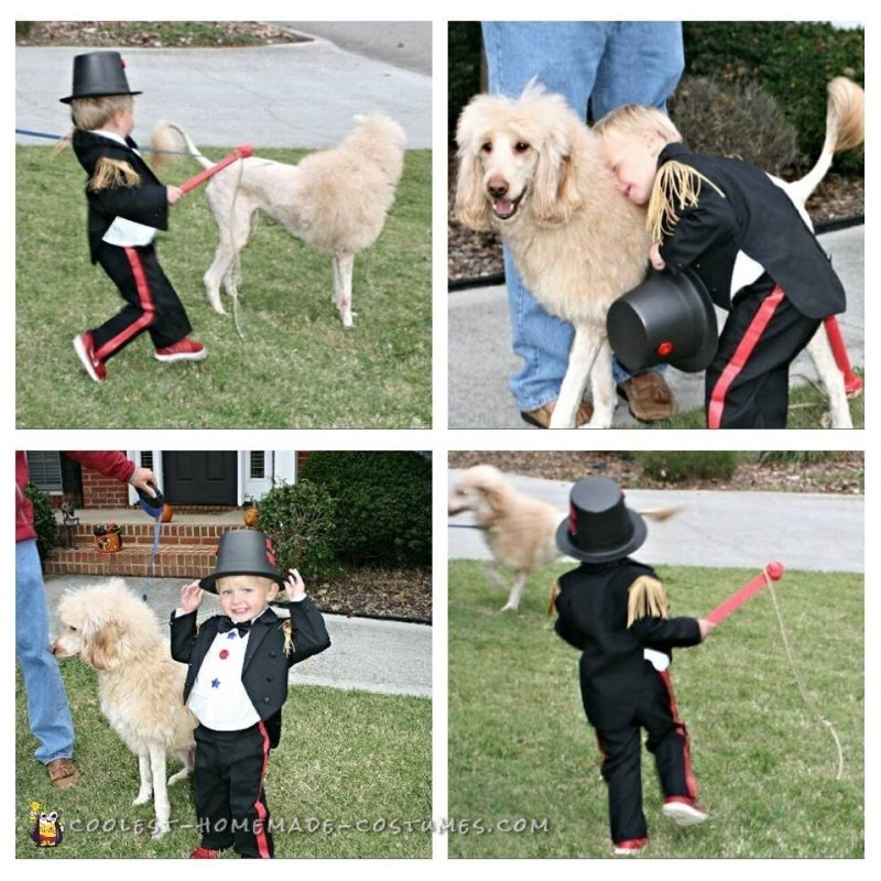 Cutest Toddler Lion Tamer Costume and Lion Dog - 3