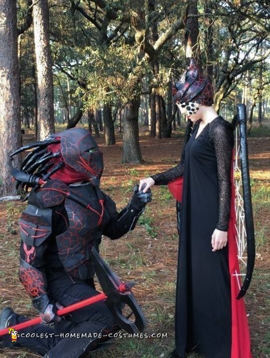 The Lava Queen and Her Guard Alien Couple Costumes