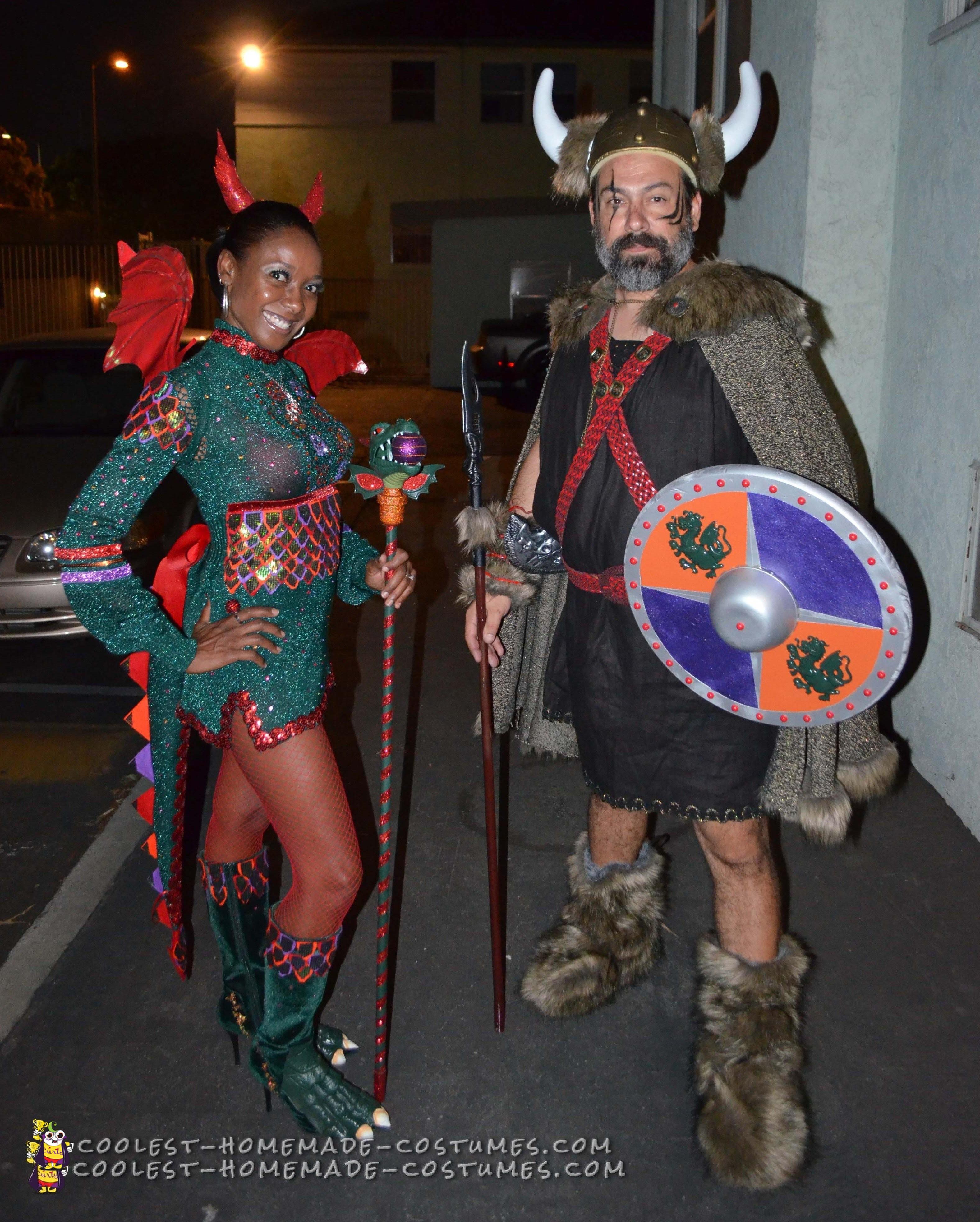 Viking and Dragon Love Couple Costume