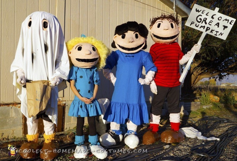 Charlie Brown Gang Costumes Welcome Great Pumpkin