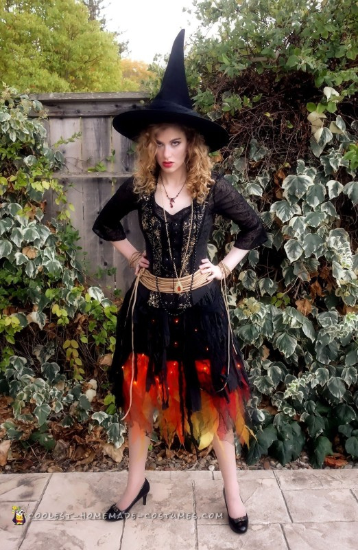 Blazing Witch on Fire Costume - 3