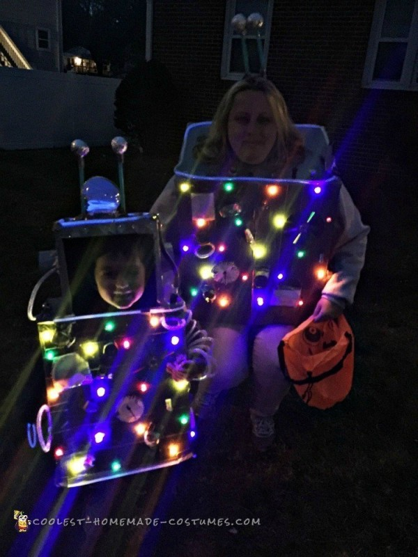 Mom and Son Cardboard Robot Costumes
