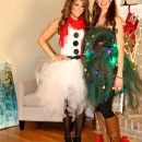 Easy Tulle Snowman and Christmas Tree Couple Costume