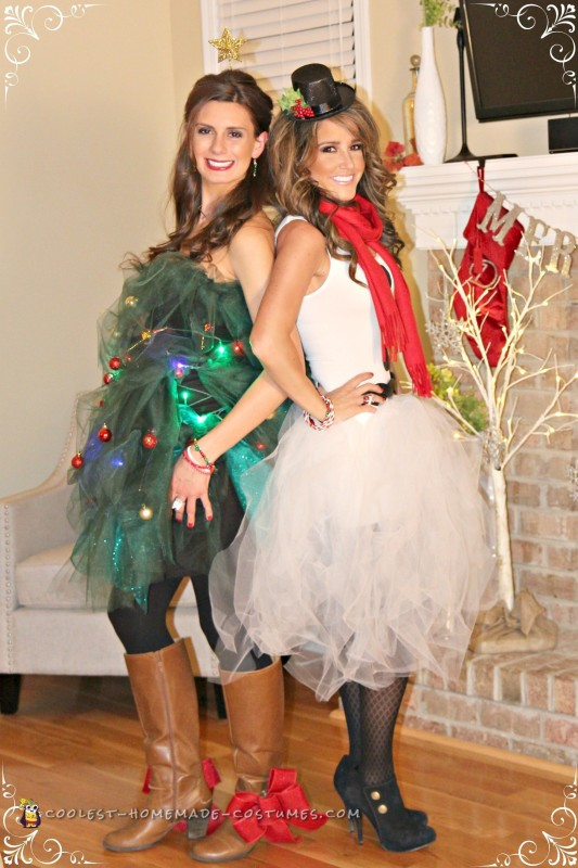 Easy Tulle Snowman and Christmas Tree Couple Costume - 1