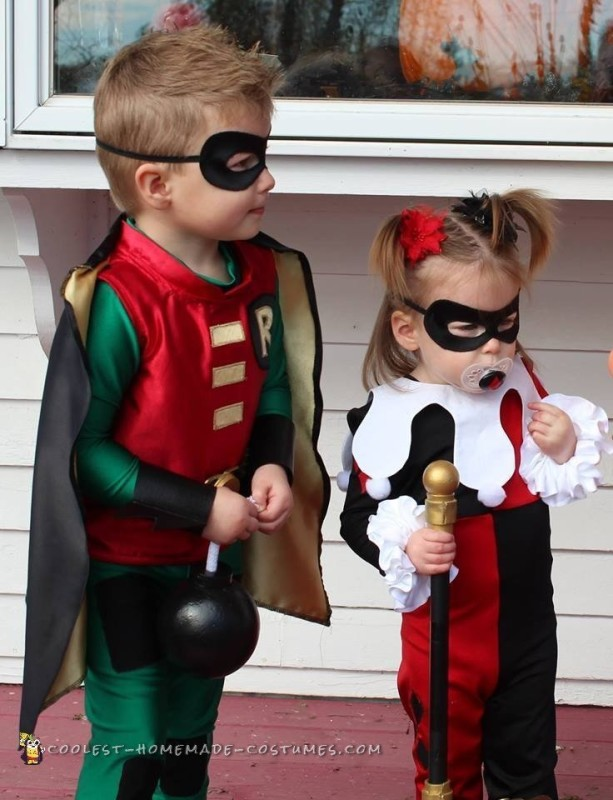 Cosplay Inspired Harley Quinn and Robin Toddler Costumes - 4