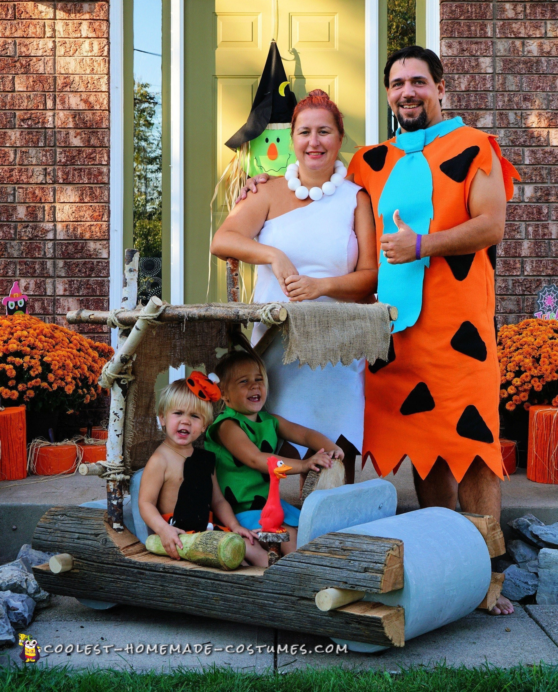 Coolest Flintstones Family and Car Costume