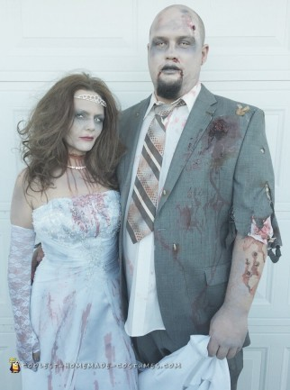 zombie bride and groom couple costume