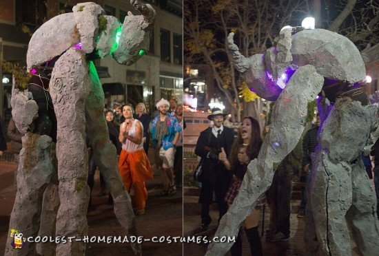 Terrifying Homemade Ancient Stone Spirit Quad Stilt Costume