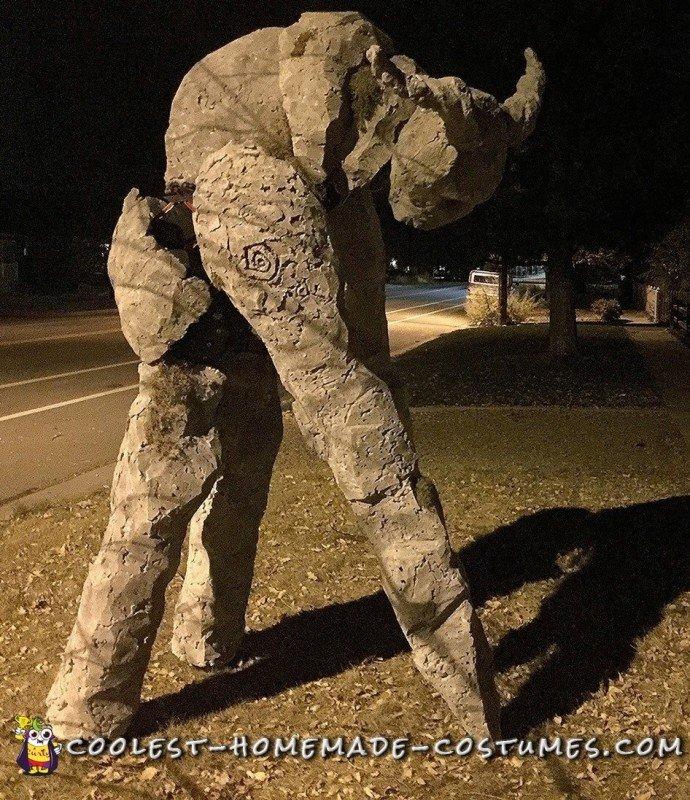 Terrifying Homemade Ancient Stone Spirit Quad Stilt Costume