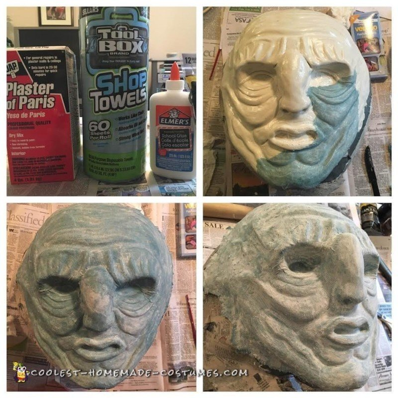 Applying Paper Mache over the Clay Sculpt
