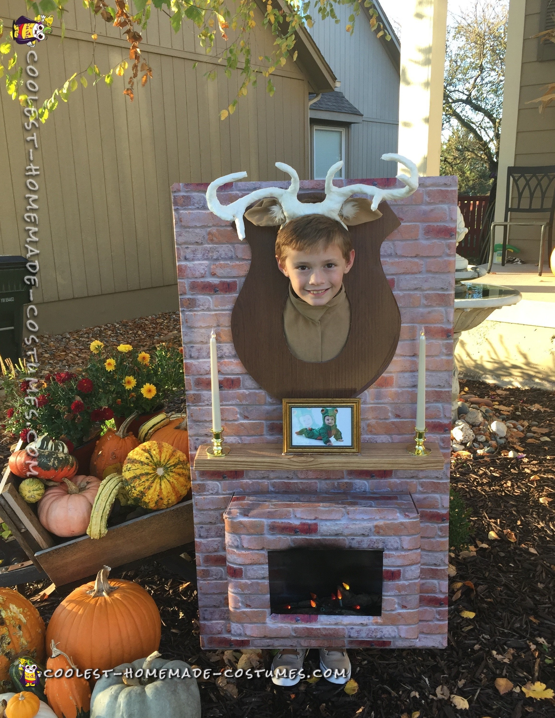 Funny Moose Head Over The Fireplace Costume