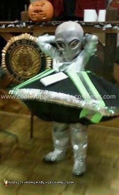 Homemade Alien in His Flying Spaceship Costume