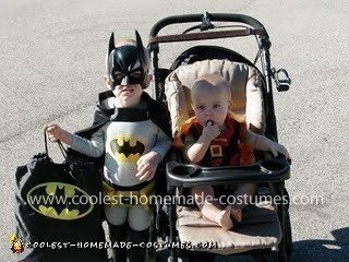Homemade Batman and Robin Child Costumes