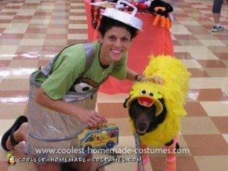 Homemade Big Bird Dog and Oscar the Grouch Handler Costume