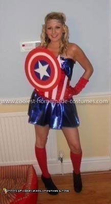 Homemade Captain America Woman's Costume