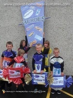 Homemade Children's Cadbury Heroes Group Costume