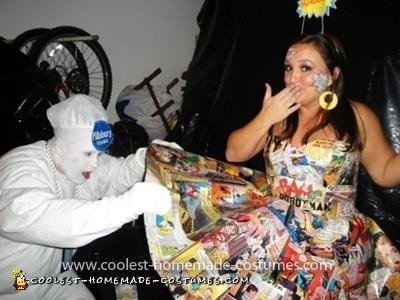 Coolest Comic Girl Costume - The Philsbury Dough Boy can not figure out how Comic Girl's paper dress was made!