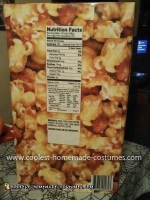 Coolest Cracker Jack Box Costume - Back of costume