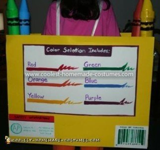 Coolest Crayola Crayon Box Costume - Back of the Crayola Box