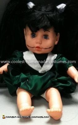 Coolest Creepy Doll Costume - makeup with added lashes