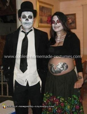 Homemade Day of the Dead Pregnant Belly Costume