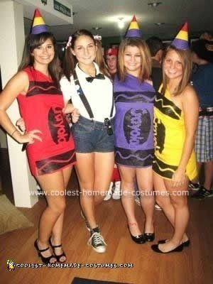 Homemade DIY Crayon Group Halloween Costume