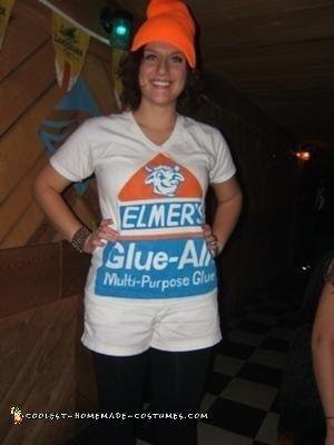Homemade DIY Elmer's Glue Bottle Halloween Costume