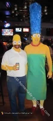 Homemade DIY Homer and Marge Simpson Halloween Couple Costume