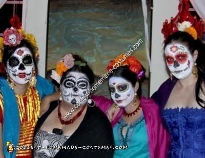 Homemade DIY Mexican Sugar Skull Dia de los Muertos Inspired Group Halloween Costume