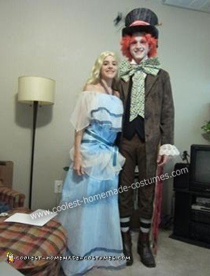 DIY Shrunken Alice and the Mad Hatter Couple Halloween Costume