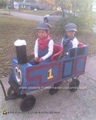 Homemade DIY Thomas the Train Halloween Costume