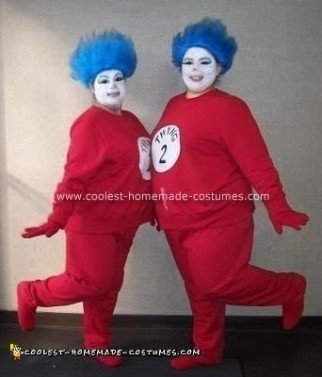 Homemade Dr. Seuss  Thing 1 and Thing 2 Costumes