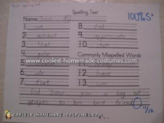 An actual spelling test given every week.